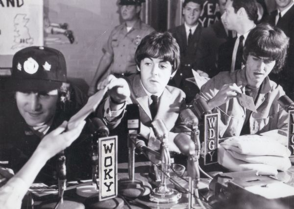 The Beatles at a Milwaukee press conference in advance of their concert that evening. Pictured: John Lennon, Paul McCartney, and George Harrison. (Courtesy of Wisconsin Historical Society)