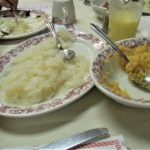 Plates of lutefisk and rutabaga served at Christ Lutheran Church in DeForest, Wisconsin.