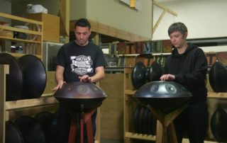 Playing handpan