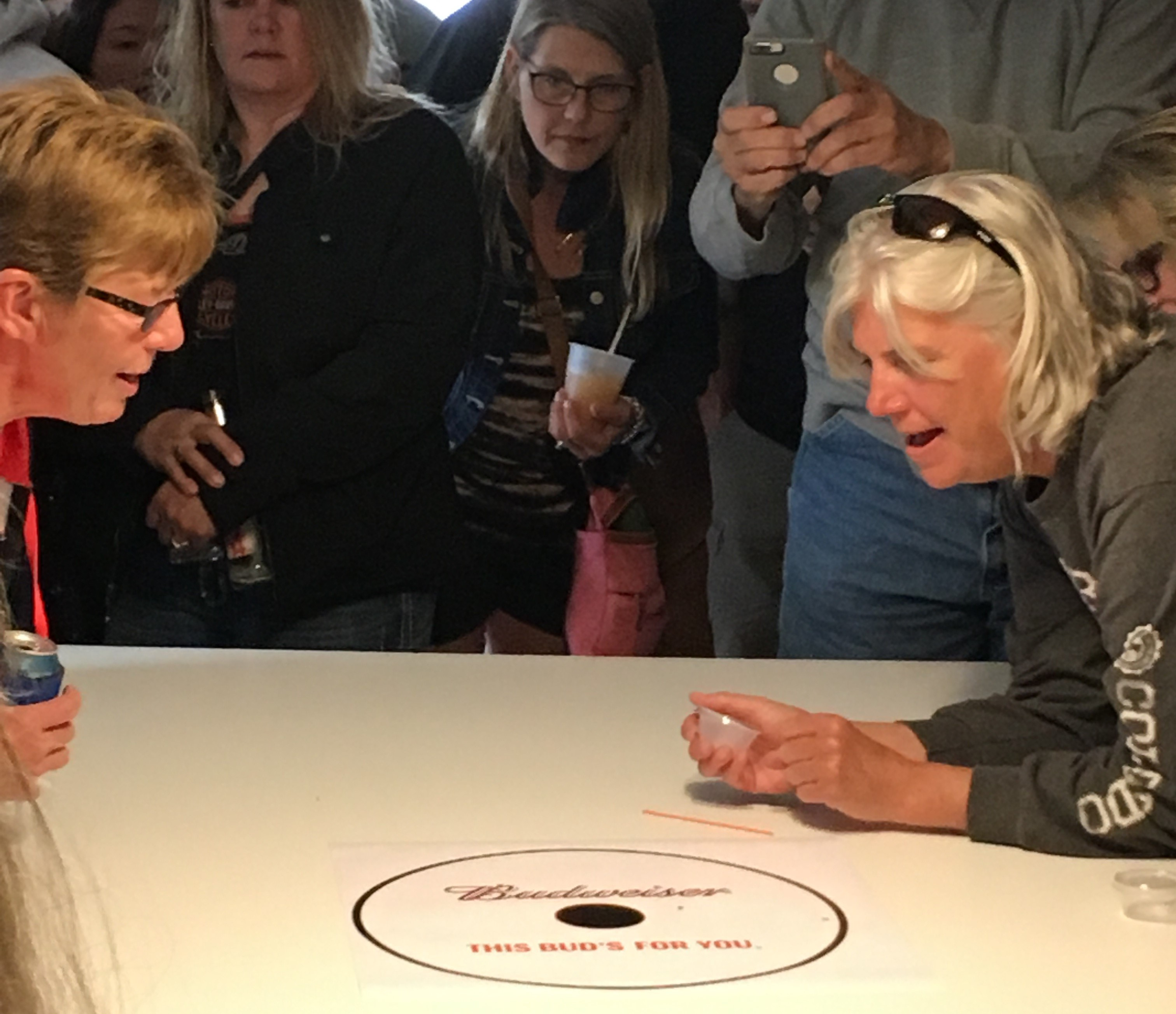 Two contestants face off at the annual Wood Tick Race in Loretta, Wisconsin.