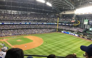 A sold out crowd at Miller Park on Friday, October 12th when the Milwaukee Brewers beat the Los Angeles Dodgers 6-5 in NLCS Game 1.
