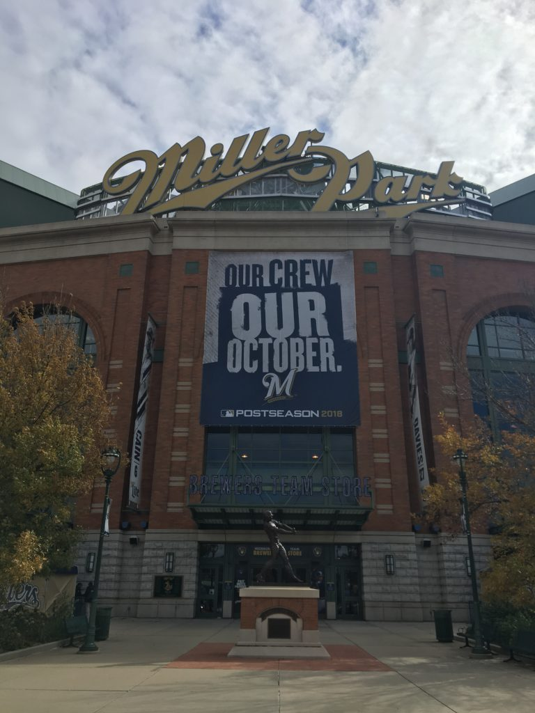Miller Park dressed up for the playoffs.
