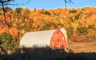 The barn that inspired the author's ode to autumn.