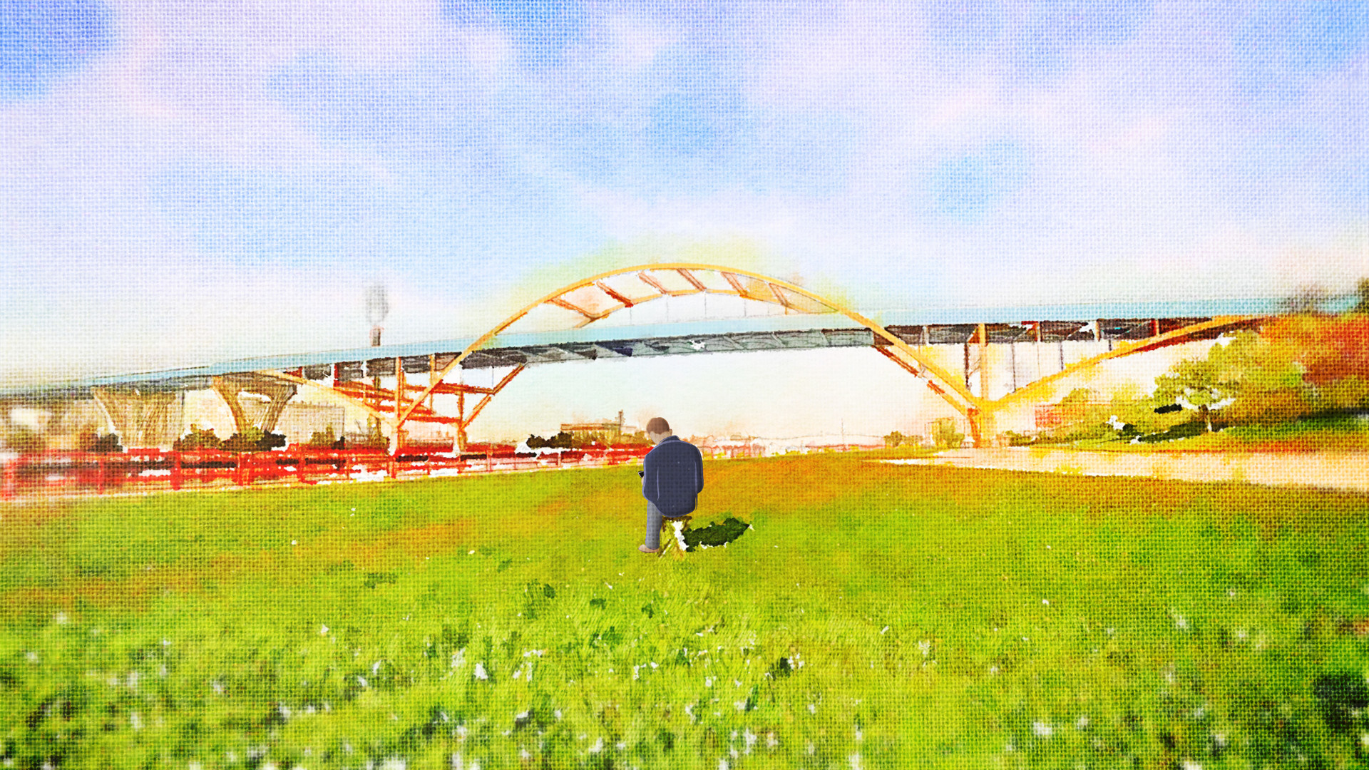 "An animated Hoan Bridge from the movie ""Hoan Alone."""