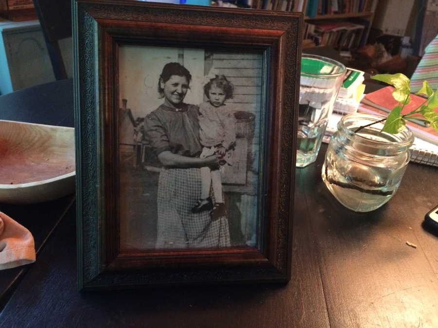 Photo of April Stone's great-grandmother, Margaret, and Martha Conners with basket in background.