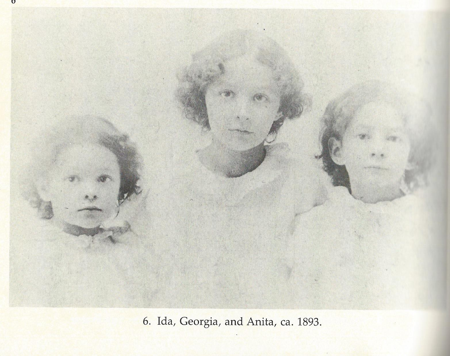 Sisters Ida, Georgia, and Anita O'Keeffe in 1893. A Sun Prairie resident at the time, Georgia would be around 6 years old when this picture was taken.