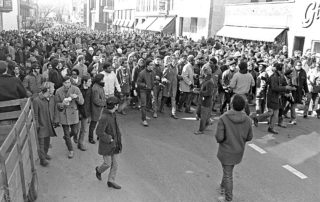 Protesters march down State Street during the Black Student Strike. (Photo by John Wolf)