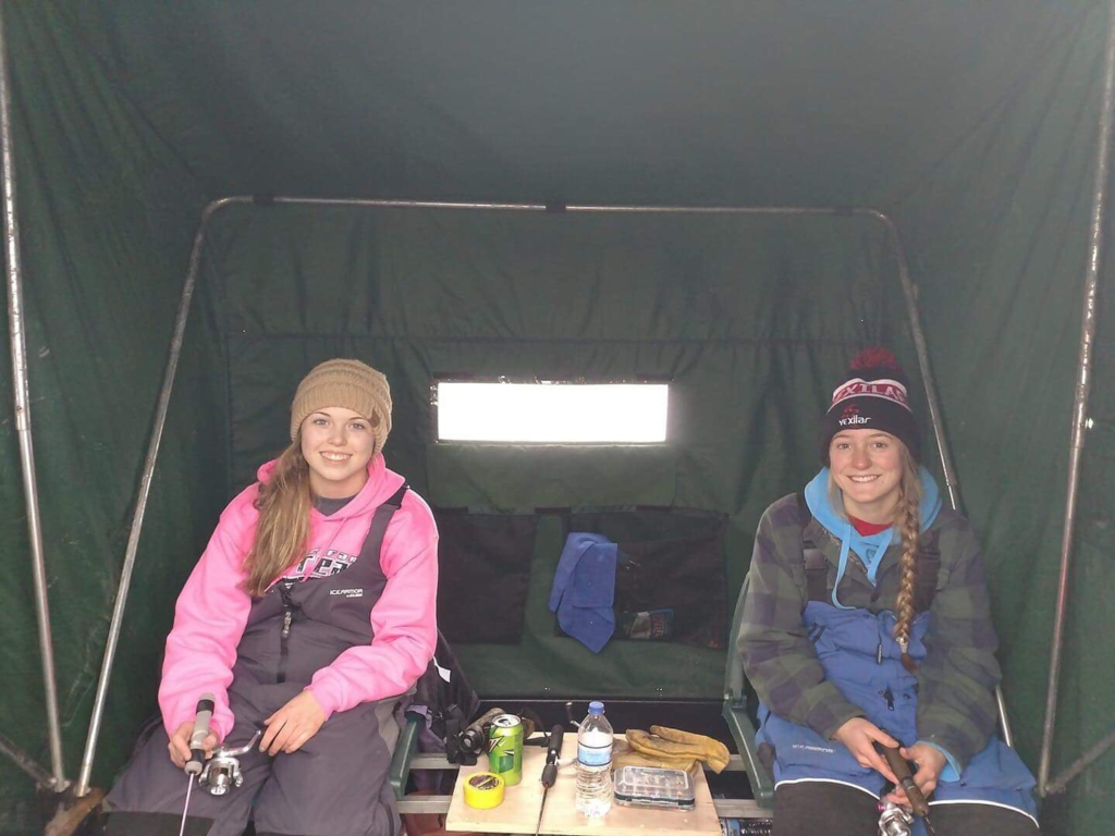 Camryn Christopherson (left) and Briley Hansen (right) participated in ice fishing years before their school founded its first team. (Photo courtesy by Briley Hansen)