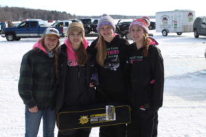 Briley Hansen, Camryn Christopherson, Makaylin Christenson, and Sam Bowers made up one of Prairie Farm's several teams competing on Bone Lake. (Photo courtesy by Briley Hansen)