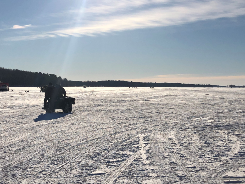 Bone Lake in Luck, Wisconsin hosted more than 240 student fish wranglers for the first tournament of the year. Students will be participating in Saturday events through March. (Taylor Pomasl/WPR)