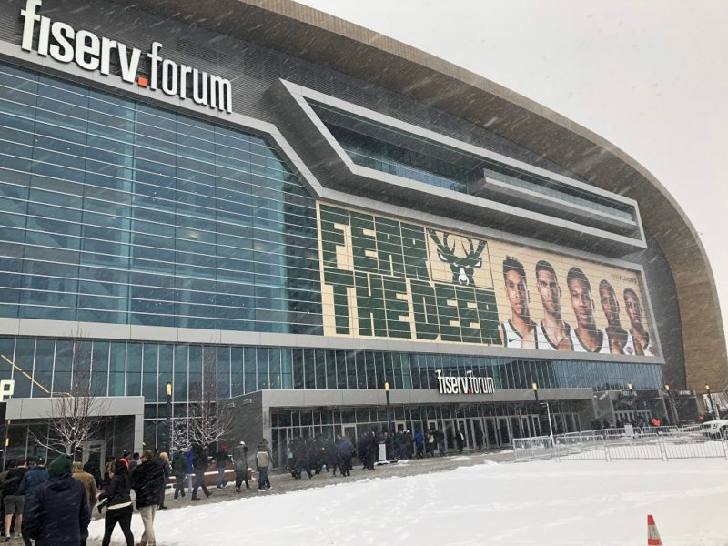 Fans enter the Fiserv Forum on Sunday, April 14, 2019 before Game 1 of the NBA playoffs. The Milwaukee Bucks Beat the Detroit Pistons 121-86. (Photo by Colleen O'Brien)