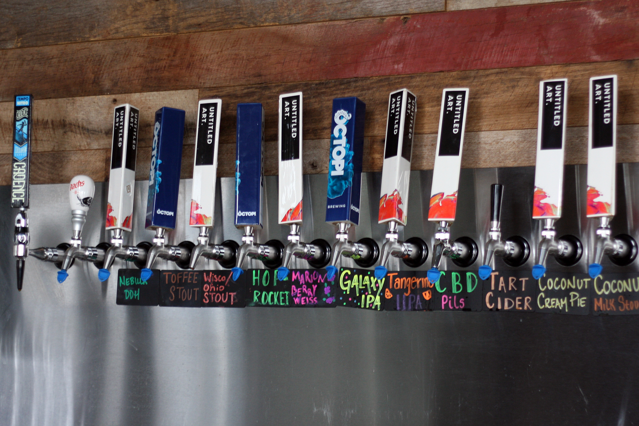 Tap handles at Octopi Brewing