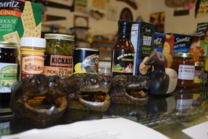 Turtle heads for sale at Valley Fish & Cheese. (Mary Kate McCoy/WPR)