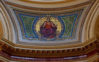 "Wisconsin State Capitol, detail of mosaic ""Justice"" in Rotunda. (Photo by Keith Ewing)"
