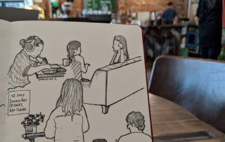 Customers in an Eau Claire coffee shop are the unsuspecting subjects in one of Nishant Jain's sketches. As he draws, Jain said he looks for different ways to connect objects with each other, like stacking them. (Courtesy of Nishant Jain)