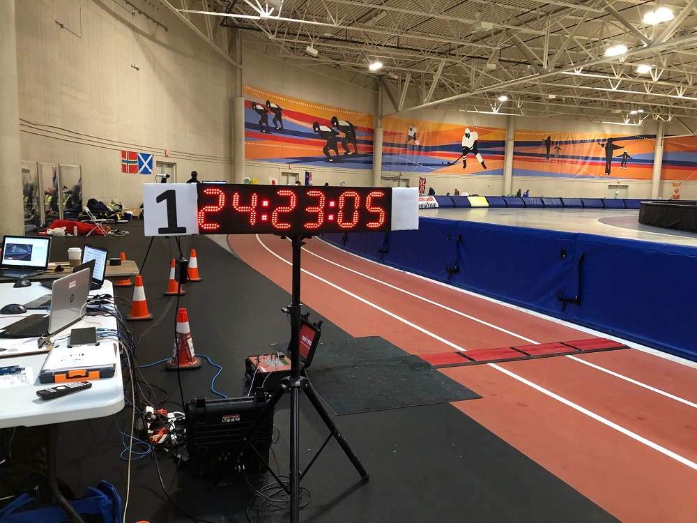 Competitors were on the track for so long, a paper number had to be added to the clock. (Corrinne Hess/WPR)
