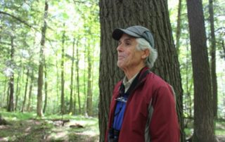 "Naturalist John Bates spent years traveling around Wisconsin hunting down old-growth forest to find ""the best of the best."" Then he self-published a book about everything he had learned. He is pictured here in the Germain Hemlocks State Natural Area in Harshaw. (Mackenzie Martin/WXPR)"