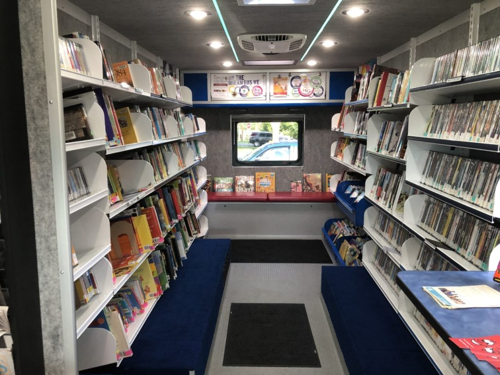 Inside Madison Public Library's Dream Bus. (Jane Genske/WPR)