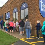 Shoppers line up outside St. Matthias' Thrift Shop in Minocqua, Wisconsin. (Photo by Jane Hampden)