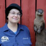 Amanda Bestul and a taxidermic otter she created. (Photo courtesy of Amanda Bestul)