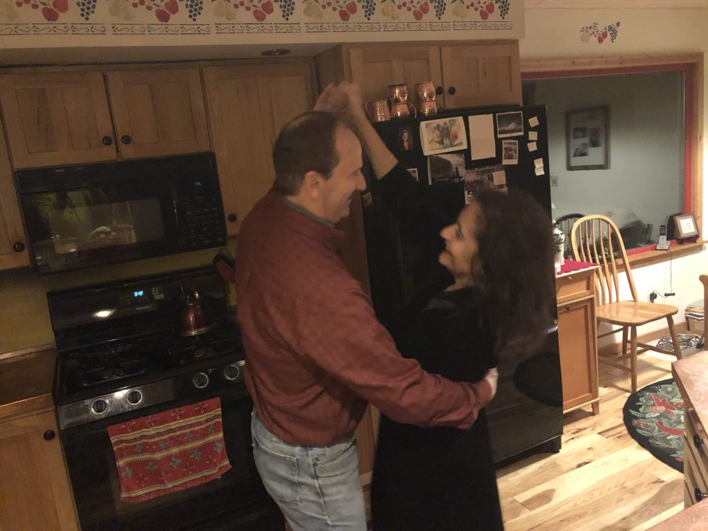 Lauran and Jan Larson dancing in their kitchen. (Courtesy of Jan Larson)