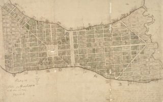 The original 1836 plat map for James Duane Doty's planned capital city of Madison. (Courtesy of the Wisconsin Historical Society)