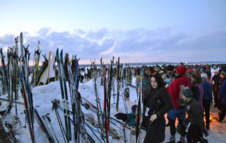 Skis at Book Across The Bay. (Photo by Erik Lorenzsonn)