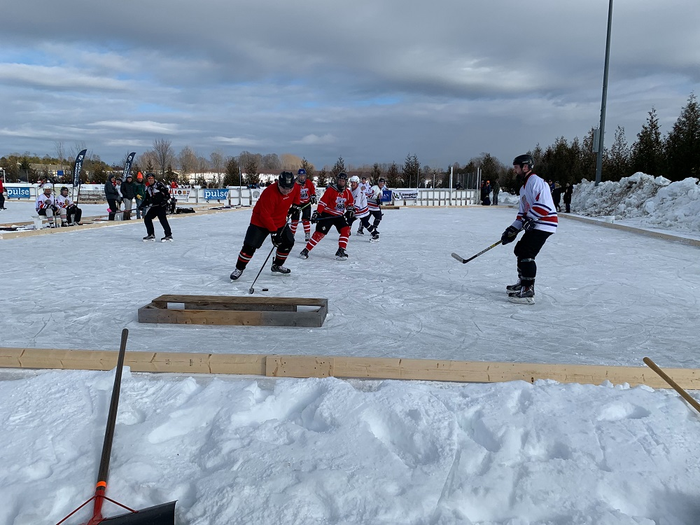 The Door County Pond Hockey Tournament, held Feb. 8, 2020, in Sister Bay, attracted players from across the Midwest. (Megan Hart/WPR)