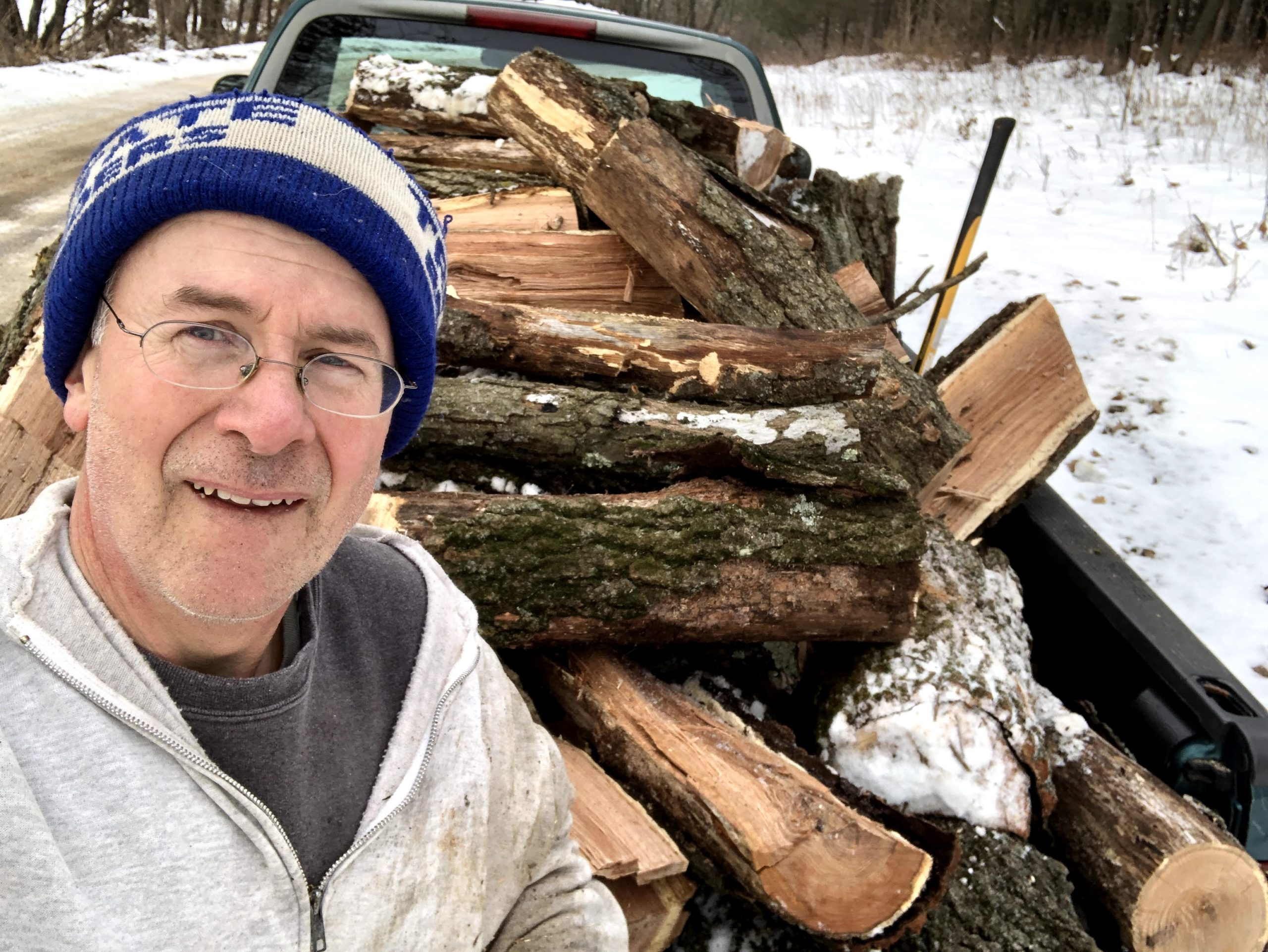 Author Chris Hardie cuts wood all winter to heat his house. (Courtesy of Chris Hardie)