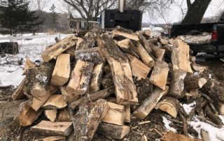The woodpile next to the furnace never seems big enough. (Courtesy of Chris Hardie)