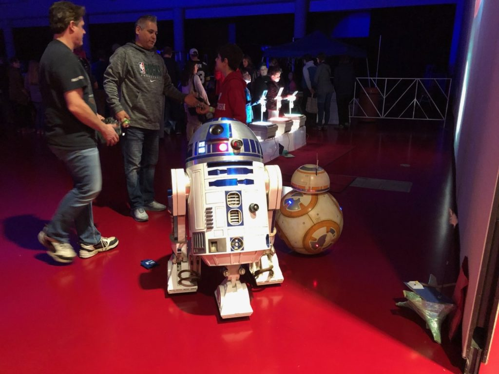 R2-D2 and BB-8 droids built in Wisconsin meet up at the Madison Mini Maker Faire in November 2019. (Maureen McCollum/WPR)