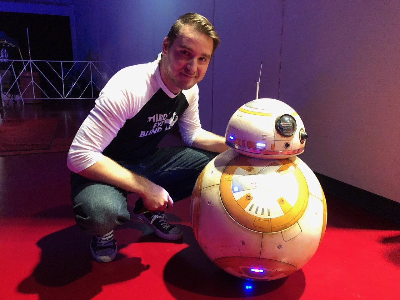 "Phil Carper of Waukesha, Wisconsin used a 3D printer and the help of an online community to build this BB-8 droid from ""Star Wars."" (Maureen McCollum/WPR)"