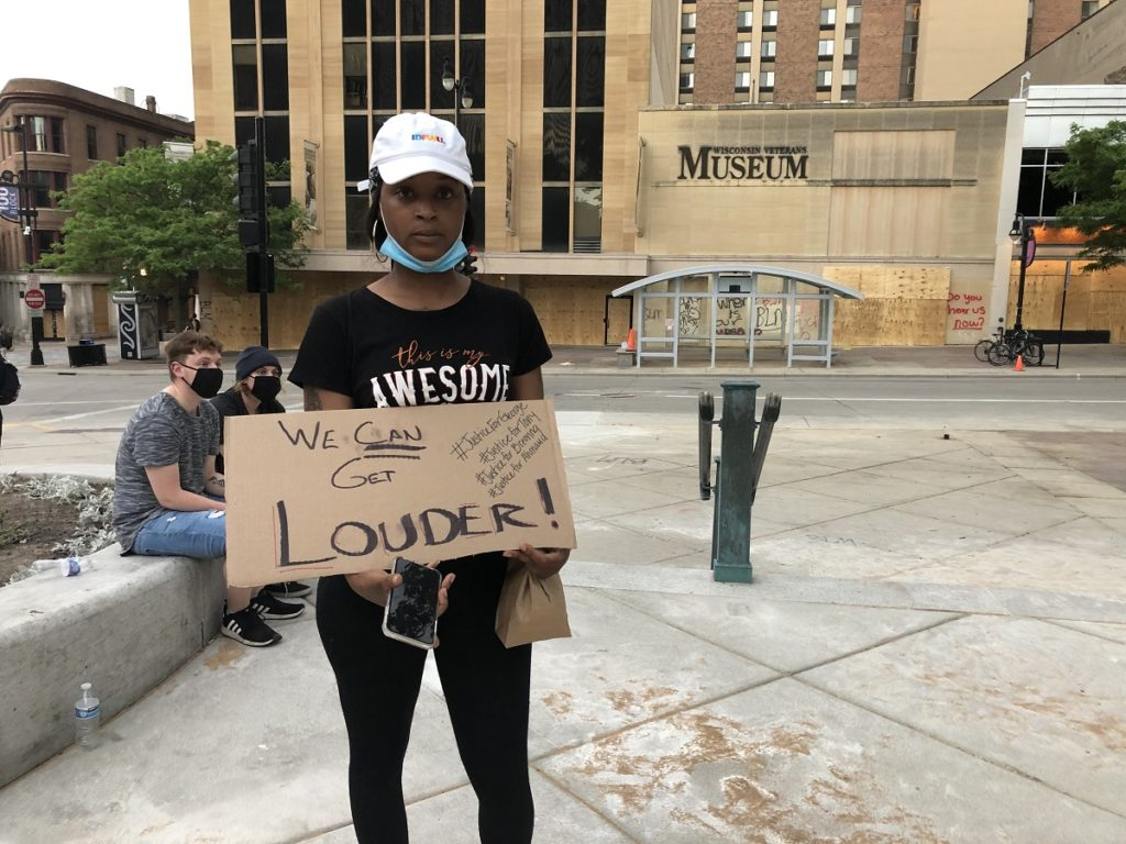 Taneshia Jackson attended the Capitol demonstration on June 2, 2020 with friends and used social media to encourage others to come down. (Maureen McCollum/WPR)