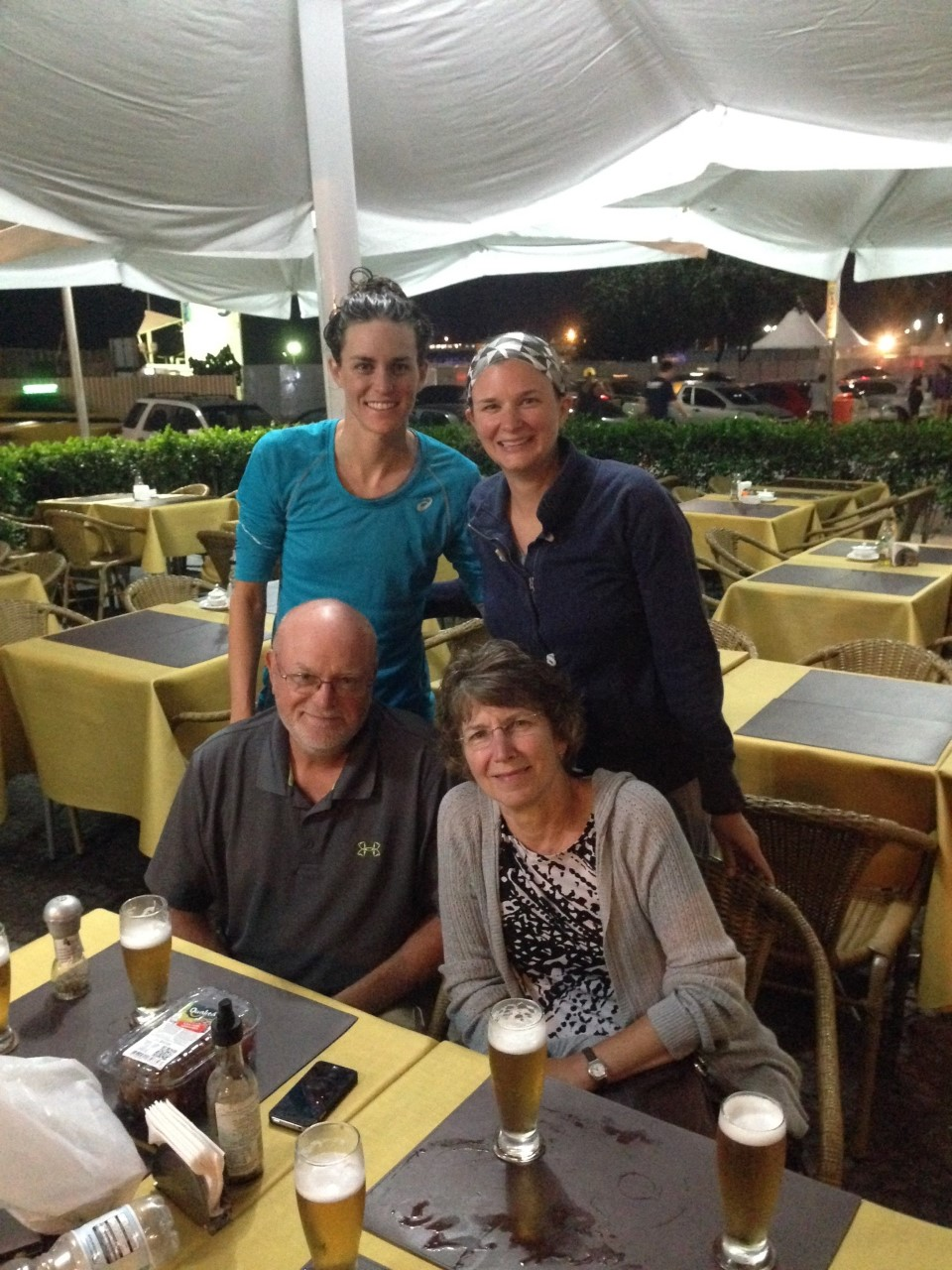 Jorgensen family at restaurant.