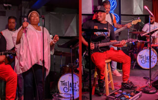 The Marcya Daneille Group performs at The Jazz Estate in Milwaukee on June 19, 2020. Left photo: Marcya Daneille. Right photo: (l-r) Darrien Williams, Alan Harris, and Olen Franklin. (Photo by Andy Turner)
