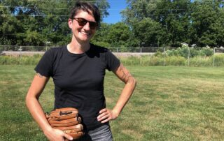 "Author Melissa Faliveno at her ""absolute favorite place on the planet,"" center field at an Olbrich Park Softball Field in Madison, Wisconsin. (Maureen McCollum/WPR)"