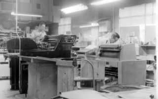 Quentin Smirl (right) at work at Lithoprint Company in Waukesha. (Courtesy of Nancy Jorgensen).