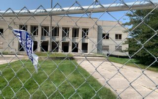 The view of the Armory taken from the Sheboygan Yacht Club as the early stages of demolition continue on Aug. 26, 2020. (Megan Hart/WPR)