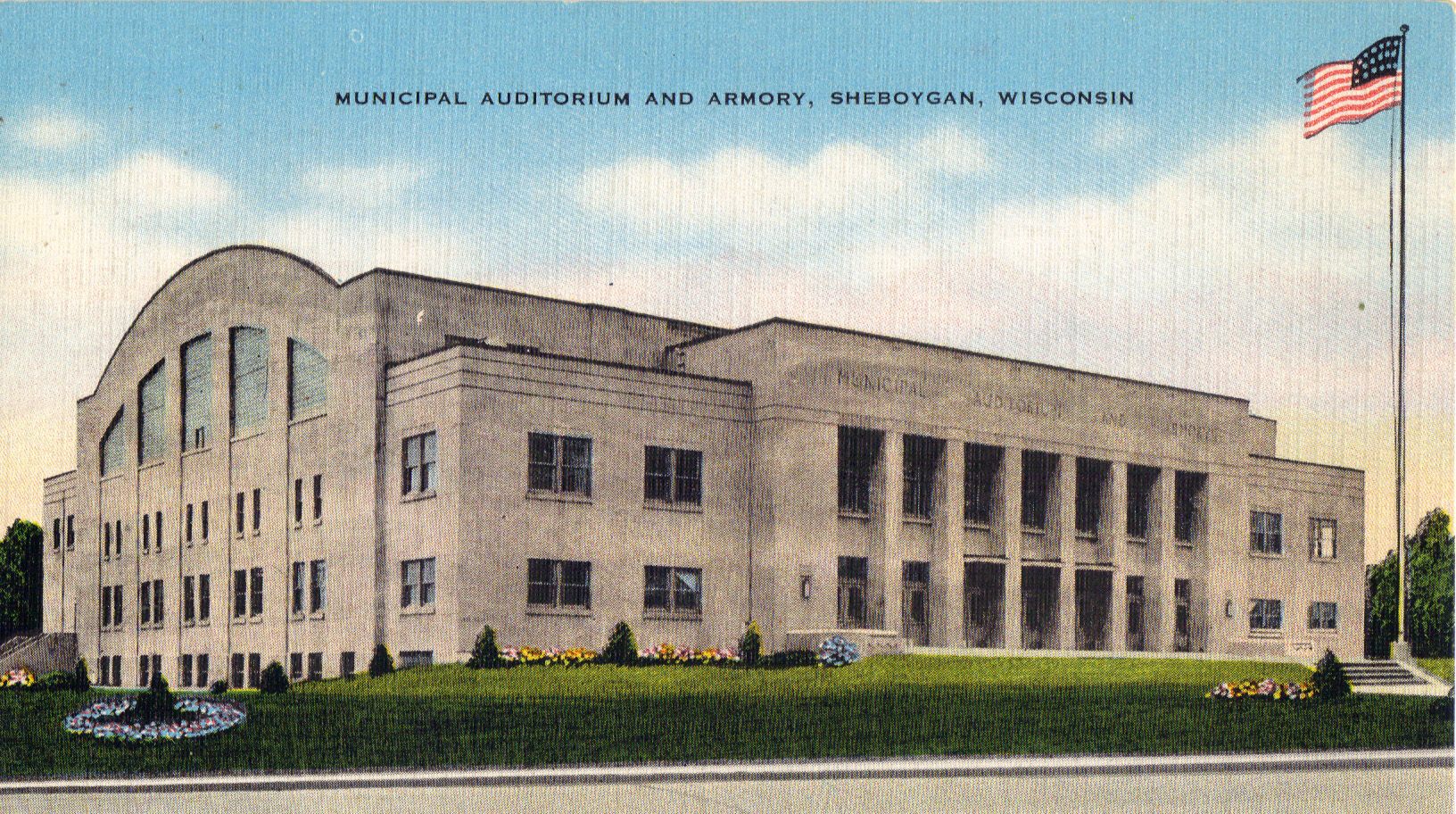 This postcard of the Armory was from the mid 1940s. (Courtesy of the Sheboygan County Historical Research Center)