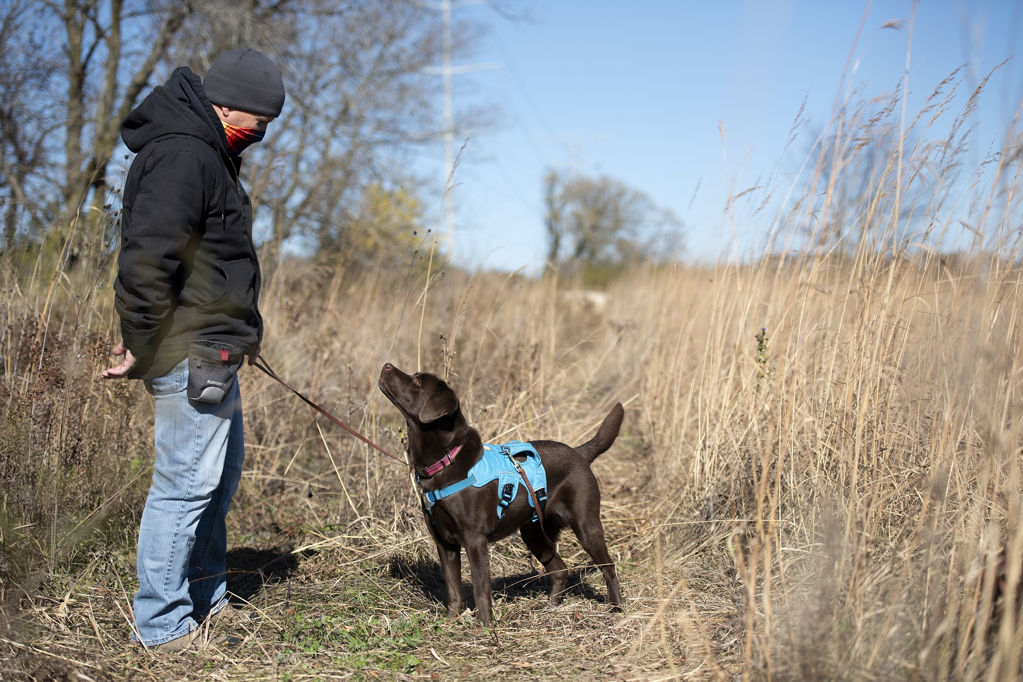 Cory Gritzmacher walks with Tilia on a leash Wednesday, Oct. 28, 2020, at the Mequon Nature Preserve. (Angela Major/WPR)