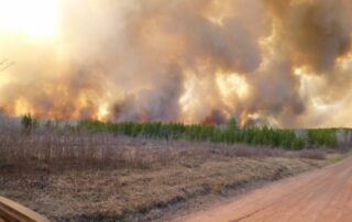 The Germann Road fire in northern Wisconsin in 2013 is the largest wildfire to hit the state in over 33 years. The fire consumed 7,499 acres and was started unintentionally from a logging crew harvesting timber on industrial timber lands. (Courtesy of the Wisconsin Department of Natural Resources)