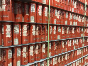 A stack of cherry flavored Jolly Good soda in the Krier Foods warehouse in Random Lake, Wis. (Rachael Vasquez/WPR)