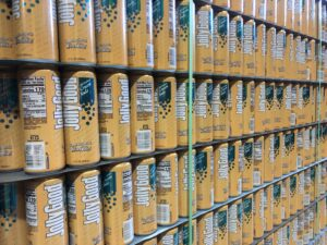 A stack of cream flavored Jolly Good soda in the Krier Foods warehouse in Random Lake, Wis. (Rachael Vasquez/WPR)