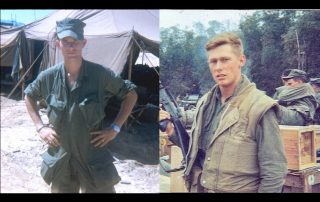 "Everett ""Doc"" Wood (l) in Vietnam and Jim Blankenheim (r) at Phu Loc 6 where they were about to move their battalion to Phu Bai Combat Base during Mardi Gras in February 1968. (Photos courtesy of Everett Wood and Jim Blankenheim)"